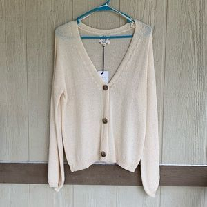 🆕HIPPIE ROSE OATMEAL BUTTON CARDIGAN SIZE M